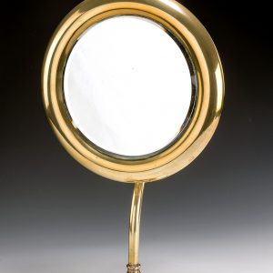 VINTAGE CIRCULAR BRASS ADJUSTABLE SHAVING MIRROR