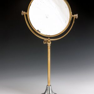 ANTIQUE CIRCULAR REVERSABLE BRASS SHAVING MIRROR