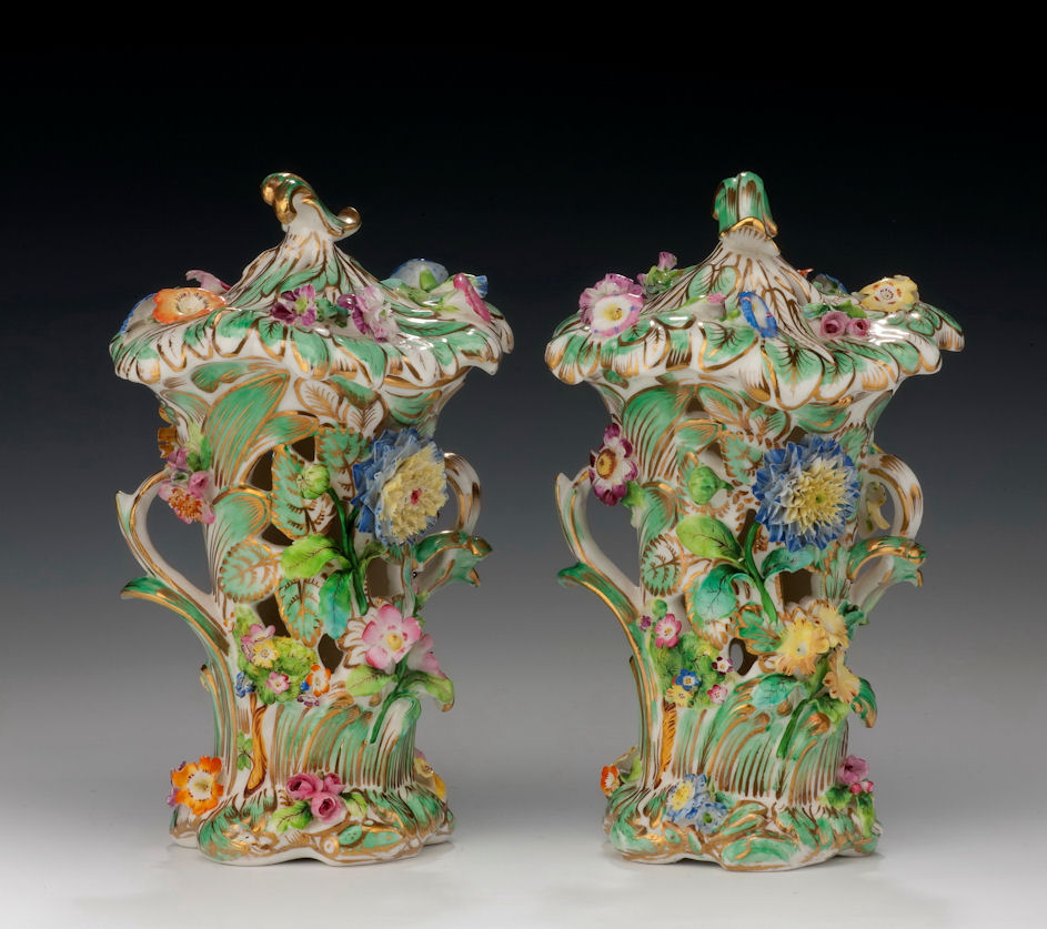ANTIQUE PAIR OF COALPORT VASES
