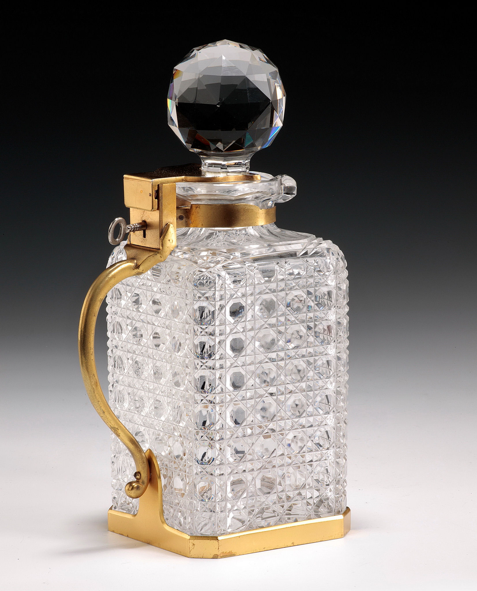antique glass betjemanns locking decanter. Black Bedroom Furniture Sets. Home Design Ideas