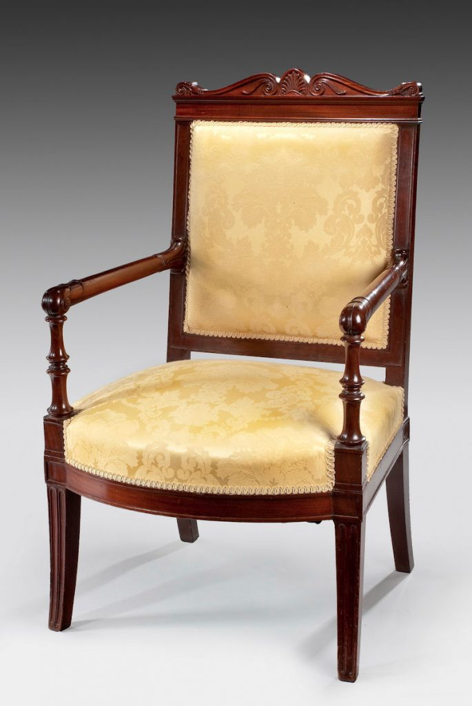 ANTIQUE FRENCH EMPIRE MAHOGANY ELBOW CHAIR