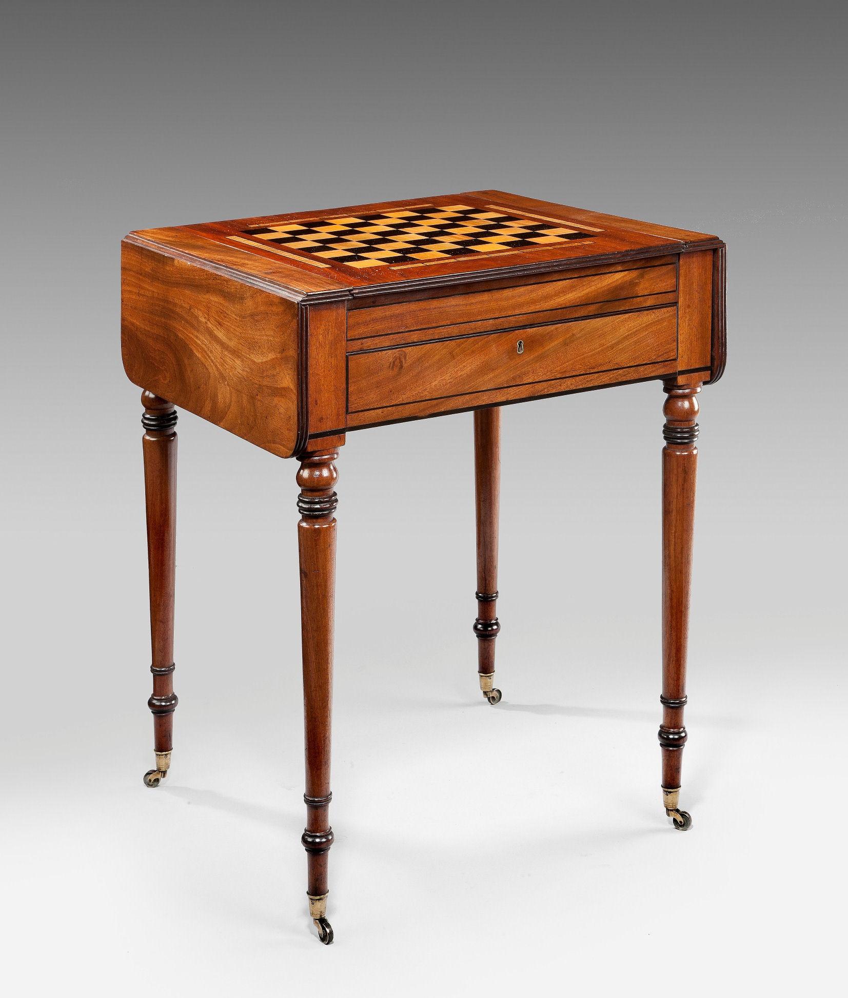 antique regency pembroke games chess backgammon table. Black Bedroom Furniture Sets. Home Design Ideas