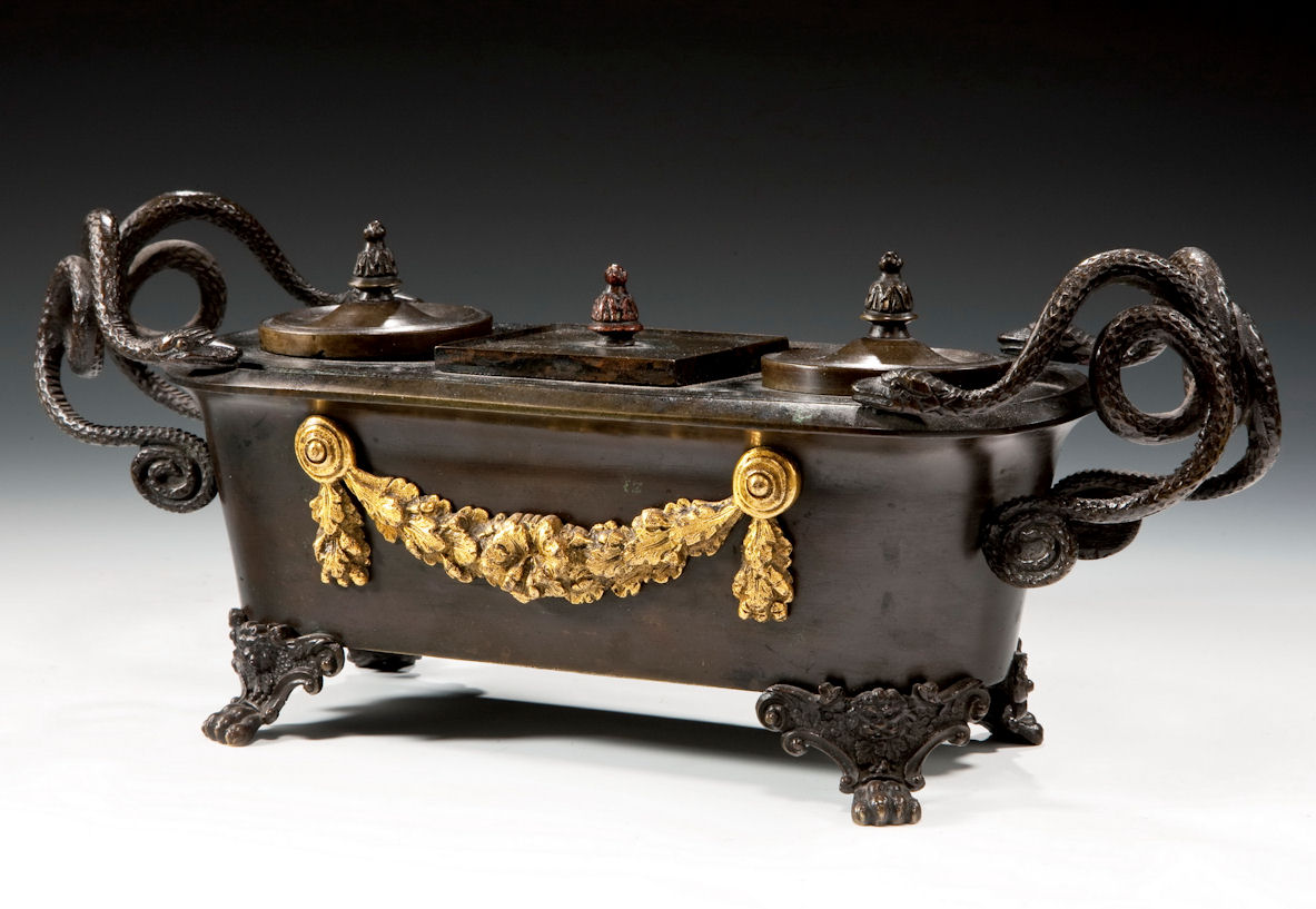 ANTIQUE REGENCY BRONZE & ORMOLU INKWELL