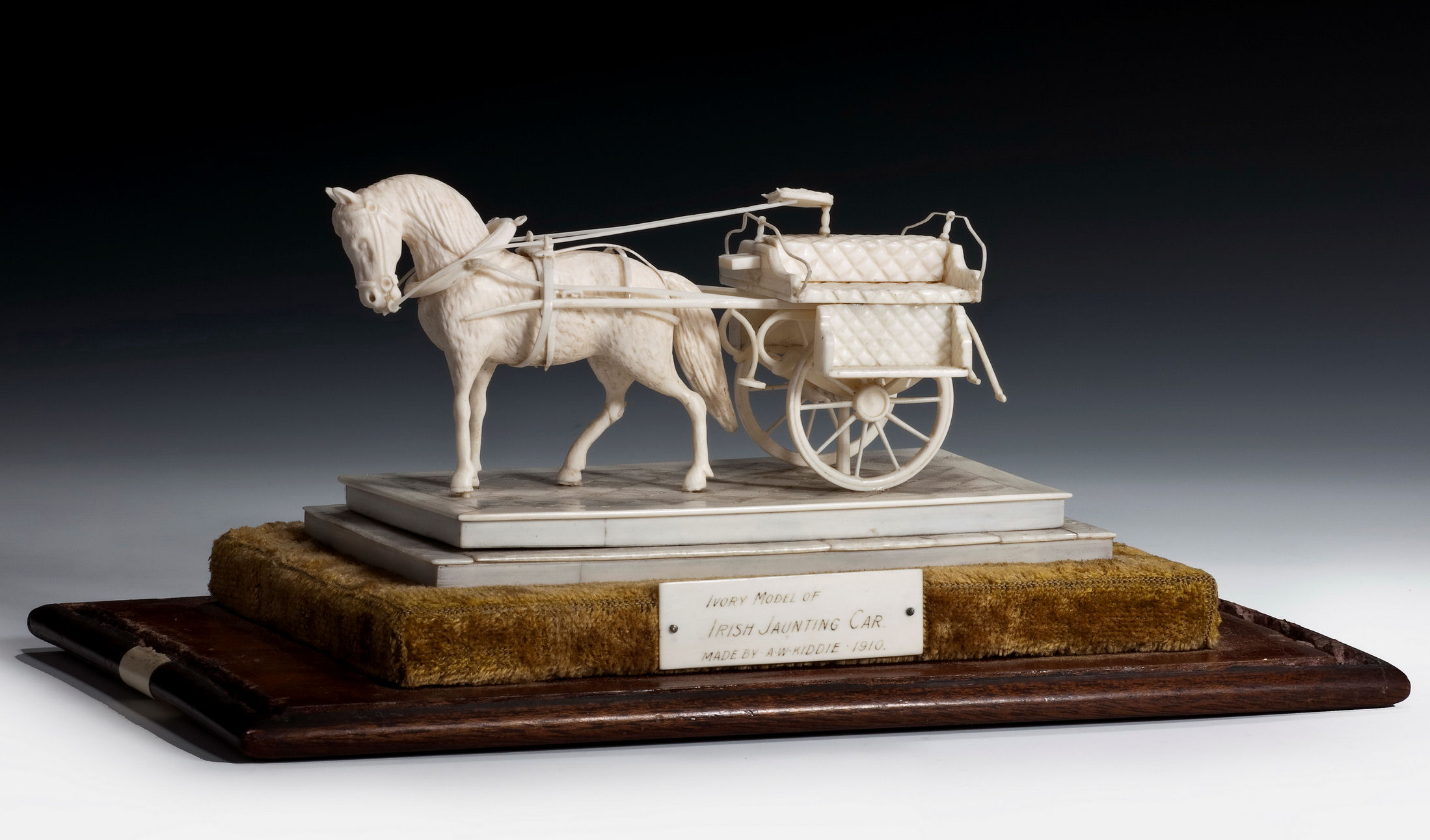 ANTIQUE IVORY MODEL OF IRISH JAUNTING CAR BY KIDDIE