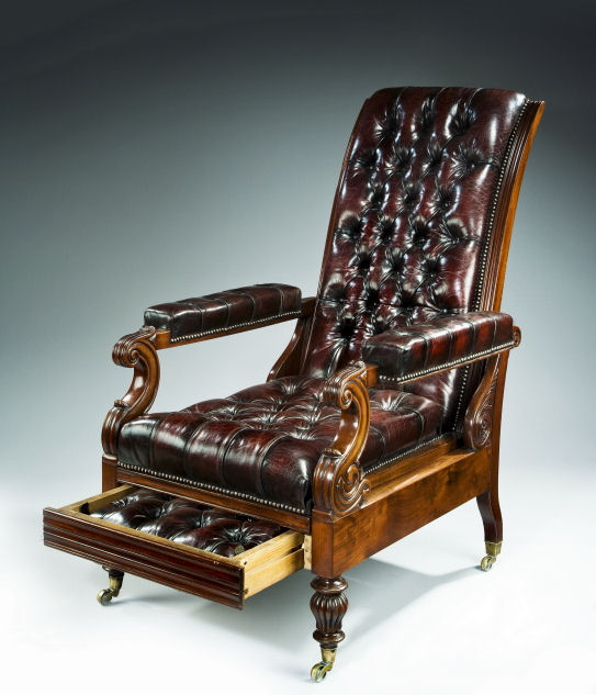 ANTIQUE RECLINING MAHOGANY U0026 LEATHER LIBRARY ARMCHAIR