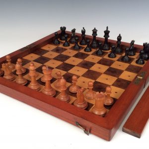RARE ANTIQUE LINER CHESS SET AND BOARD