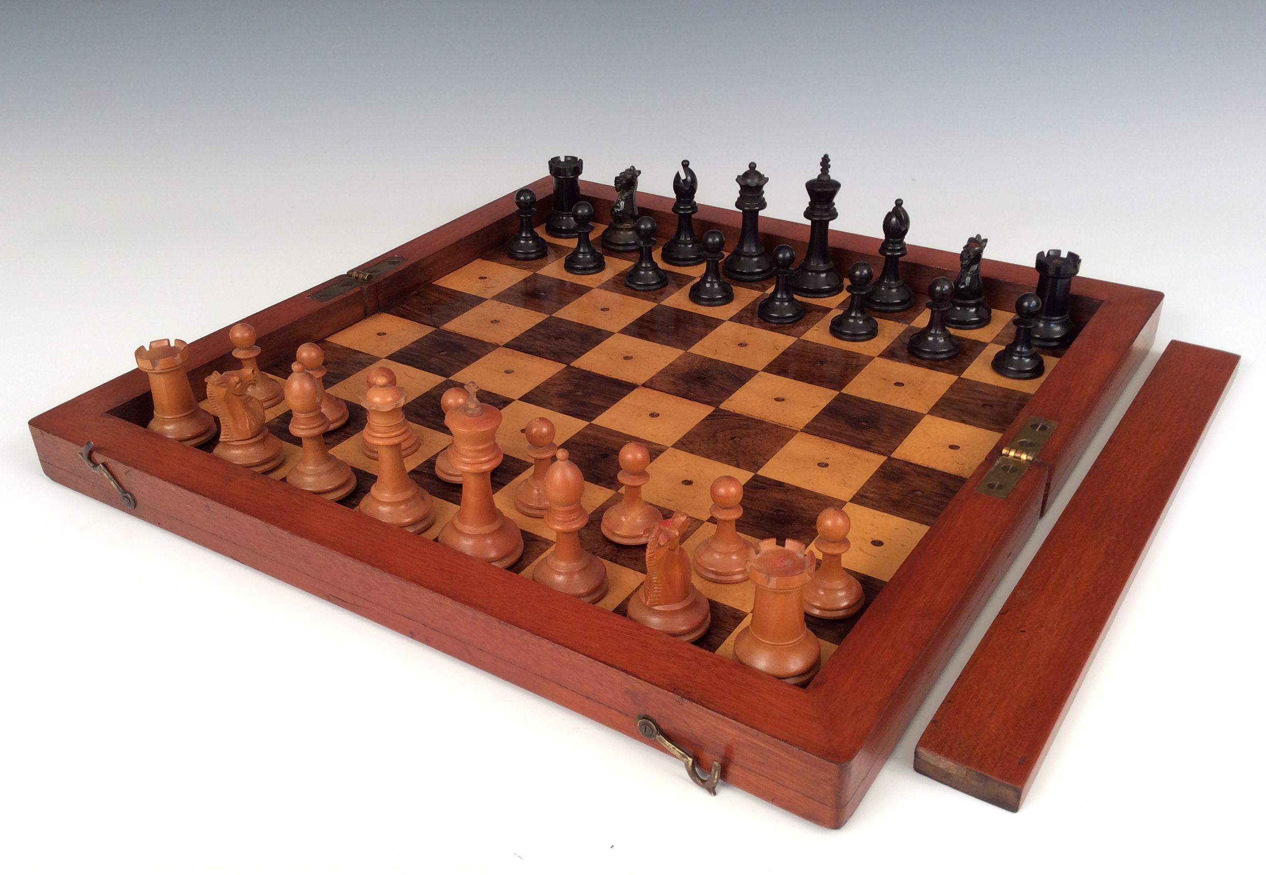 Rare antique liner chess set and board richard gardner antiques - Collectible chess sets ...