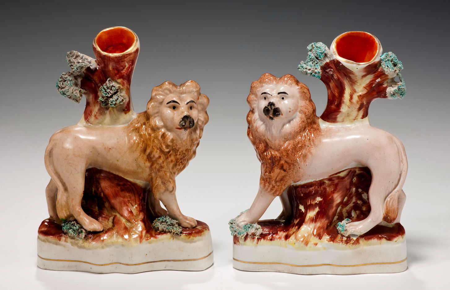 PAIR ANTIQUE STAFFORDSHIRE FIGURES OF LIONS