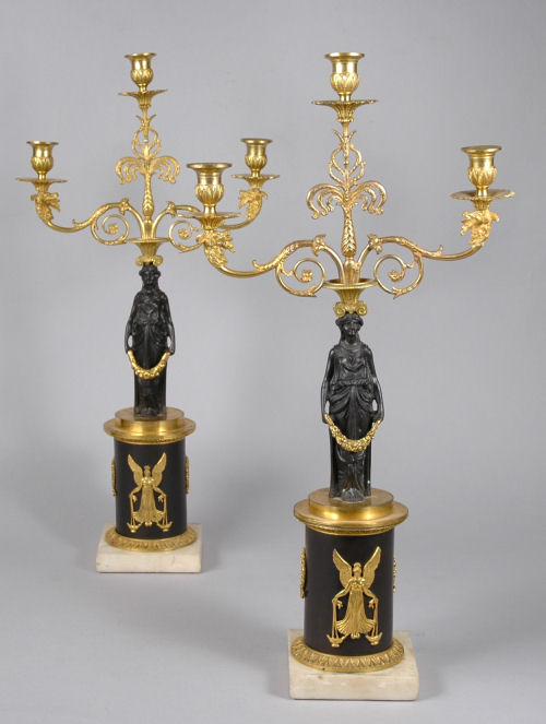 ANTIQUE PAIR OF REGENCY BRONZE AND ORMOLU FIGURAL CANDELABRA