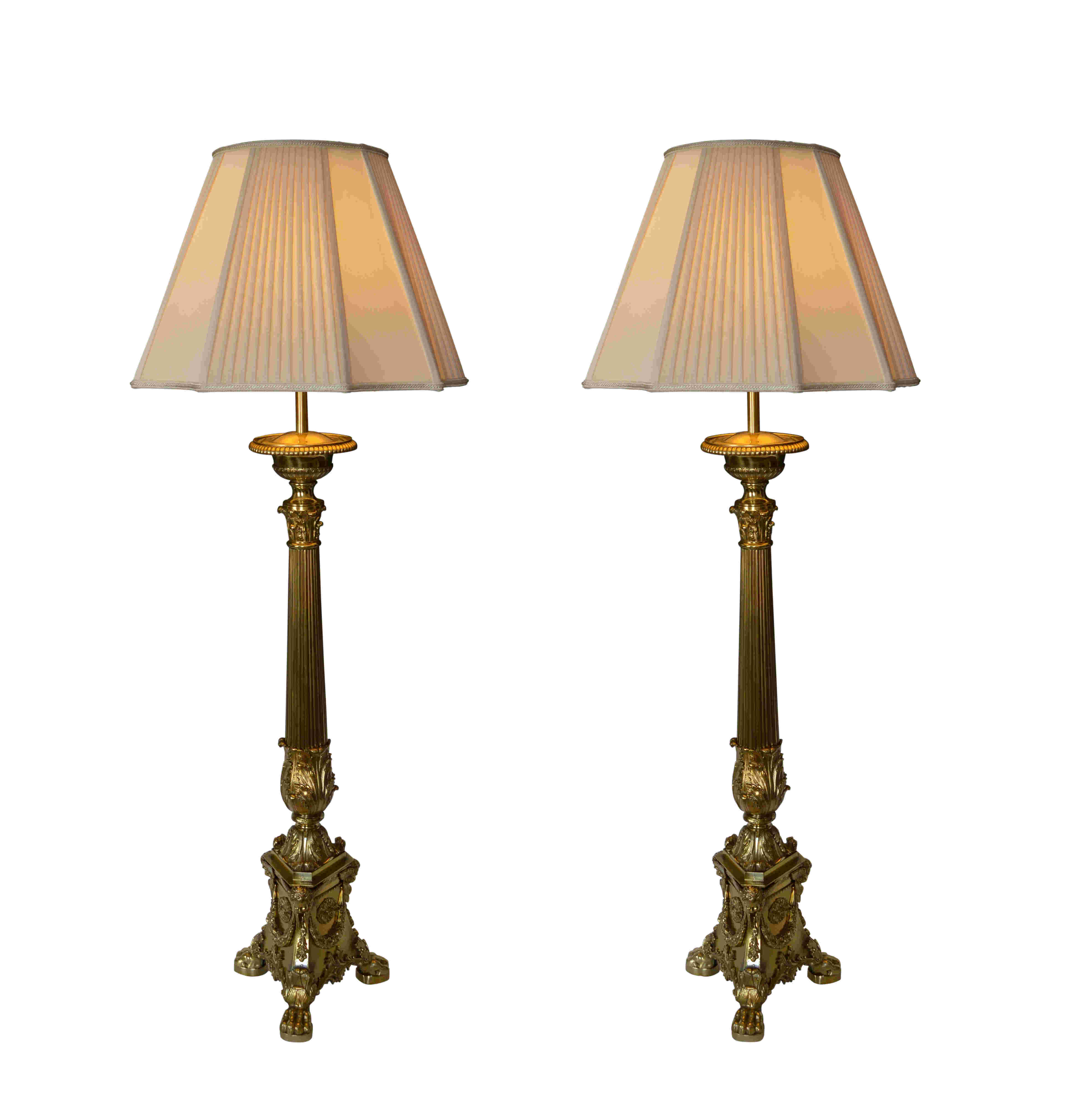 Large antique pair of brass corinthian column table lamps richard large antique pair of brass corinthian column table lamps aloadofball Choice Image
