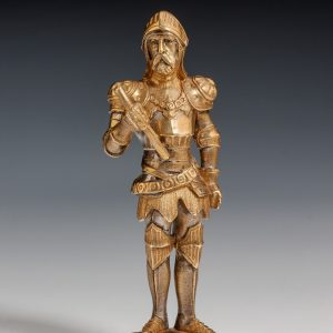 ANTIQUE GILT AND SILVERED BRONZE STANDING KNIGHT SEAL