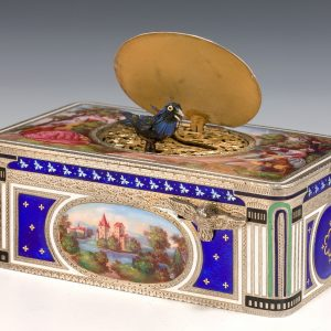 STERLING SILVER GILT ENAMEL AND PICTORIAL ENAMEL SINGING BIRD BOX