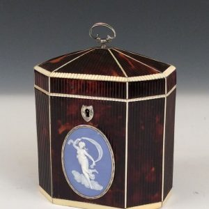 VERY RARE ANTIQUE RIBBED TORTOISESHELL TEA CADDY