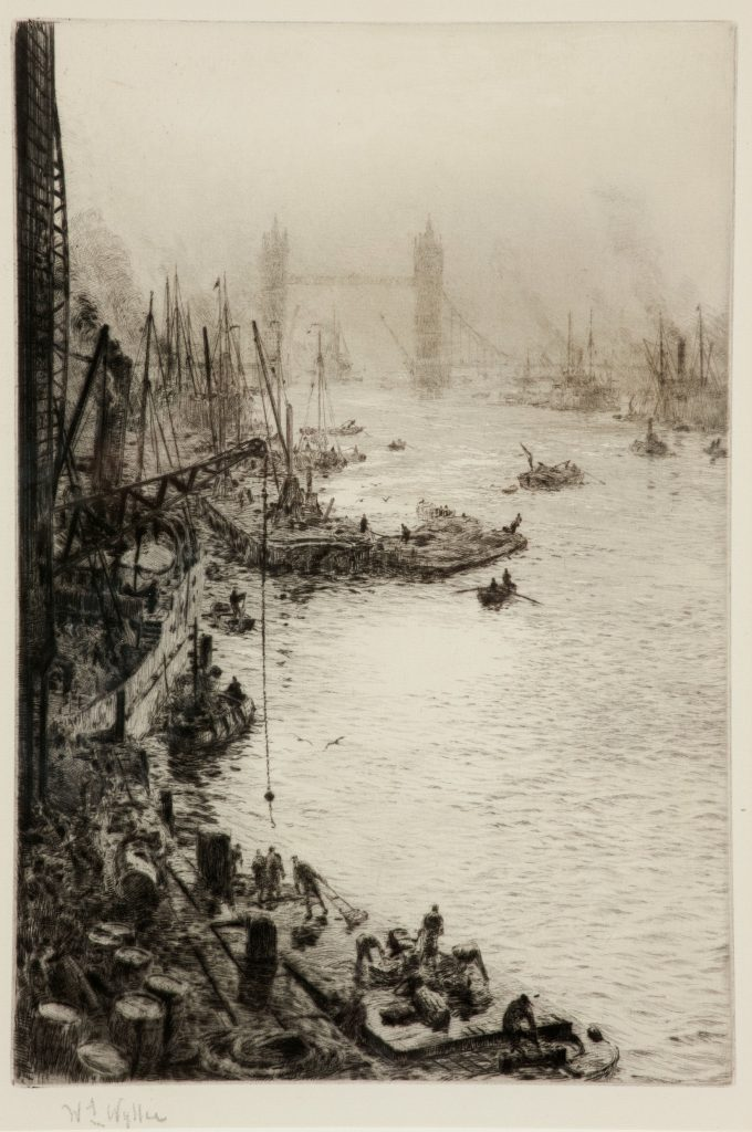 WILLIAM LIONEL WYLLIE-ETCHING-THE POOL OF LONDON