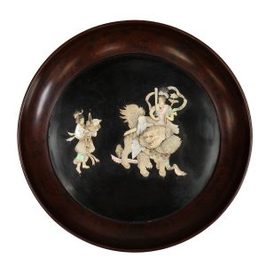 JAPANESE IVORY & MOTHER-OF-PEARL CIRCULAR PLAQUE