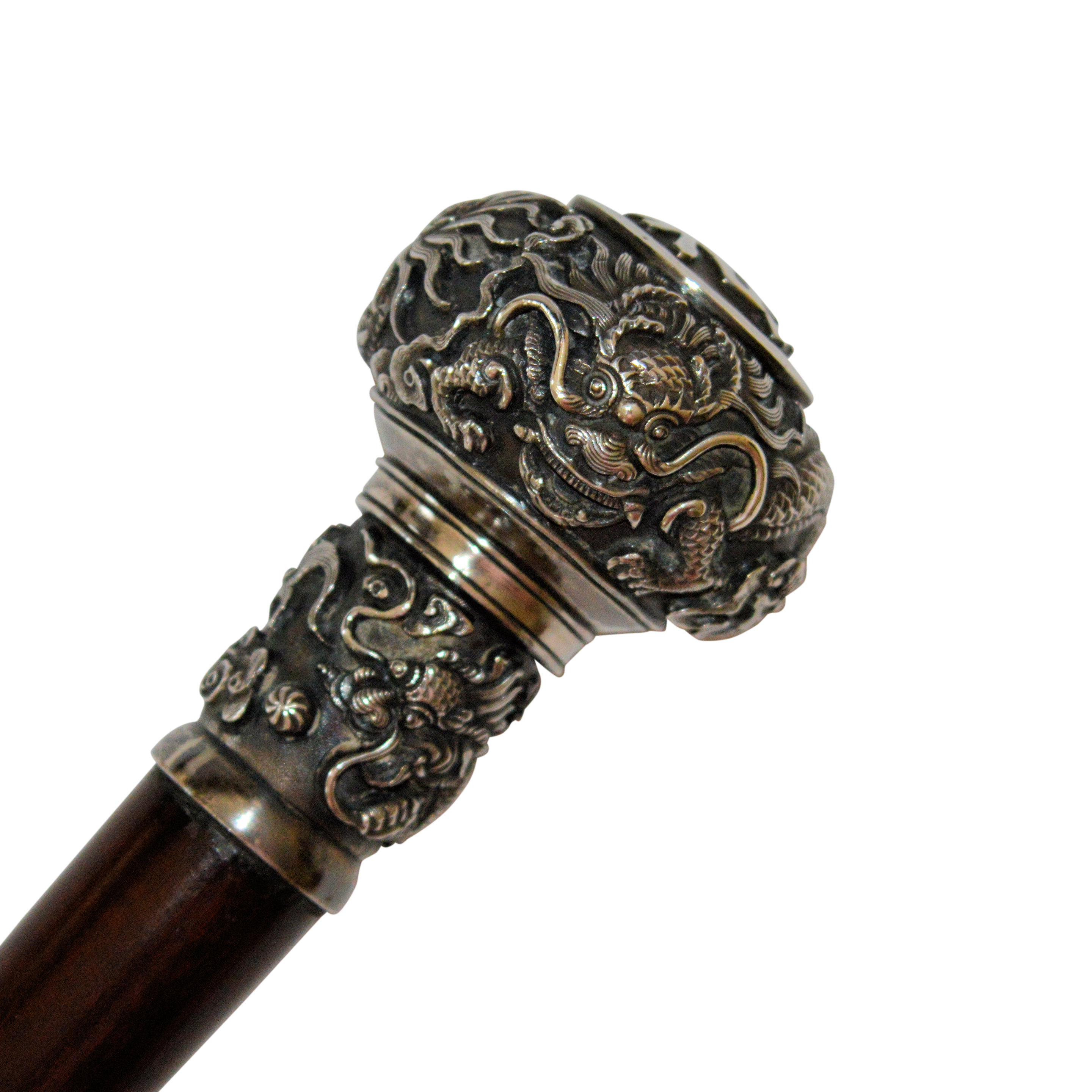 Antique Walking Cane With Chinese Silver Handle
