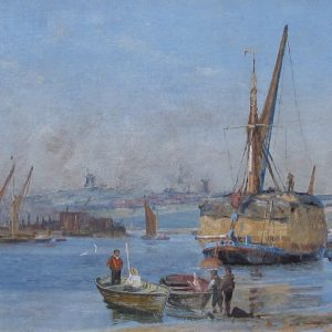 CHARLES WILLIAM WYLLIE-OIL PAINTING-LOADING HAYBOATS