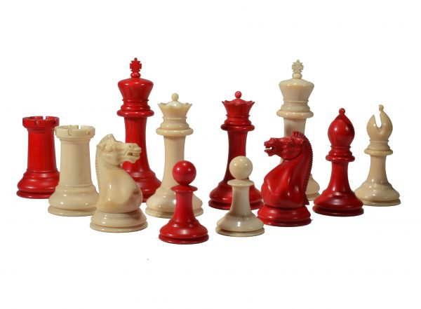 ANTIQUE JAQUES STAUNTON IVORY CLUB CHESS SET