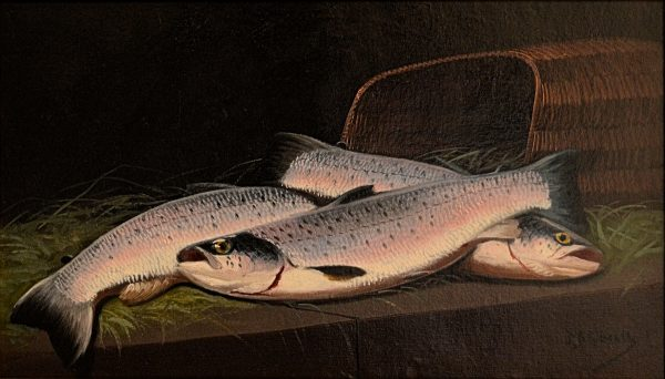JAMES RUSSELL-OIL PAINTING- SALMON AND CREEL