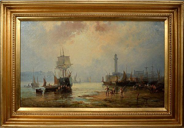 william-thornbery-thornley-antique-oil-painting-marine-harbour-DSC_9608