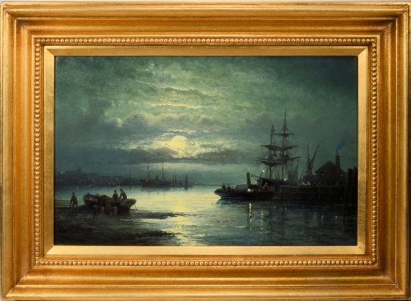 william-thornley-oil-painting-marine-harbour-scene-moonlight-for-sale-DSC_9607