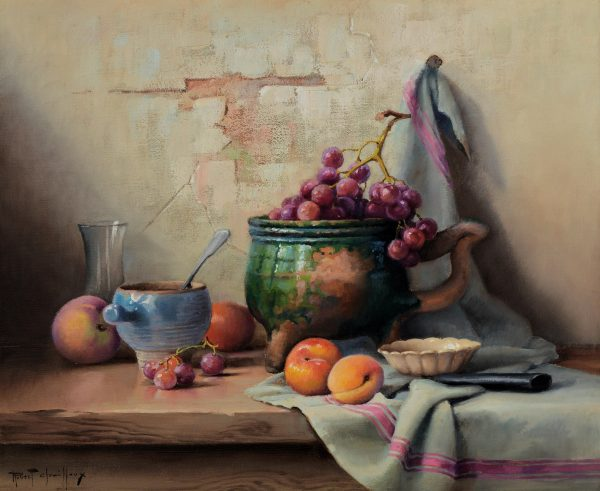 ROBERT CHAILLOUX-OIL PAINTING-STILL LIFE PEACHES & GRAPES