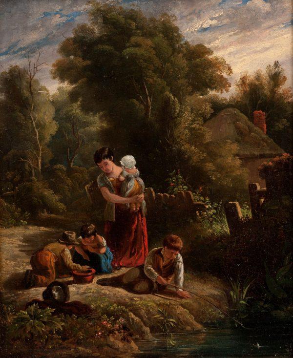 19TH CENTURY ENGLISH SCHOOL OIL PAINTING CHILDREN BY STREAM