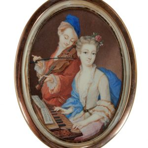 PORTRAIT MINIATURE OF A YOUNG COUPLE