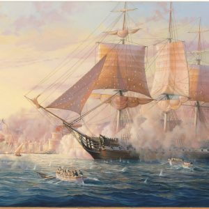 WILLIAM H BISHOP OIL PAINTING BOMBARDMENT TRIPOLI AMERICAN FLEET 1804