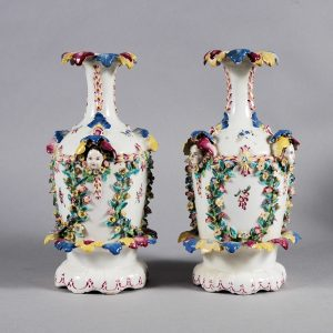 ANTIQUE PAIR OF BOW PORCELAIN FRILL VASES