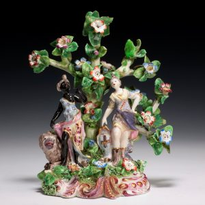 ANTIQUE BOW PORCELAIN FIGURE OF EUROPE AND AFRICA