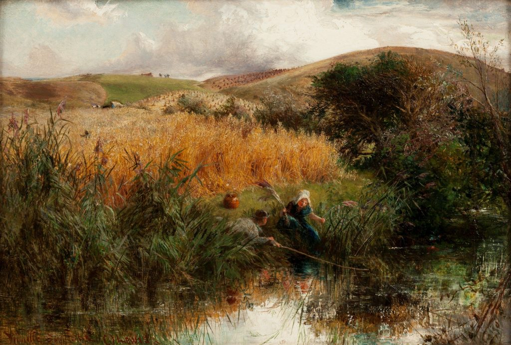 Charles James Lewis Oil Painting Children Fishing