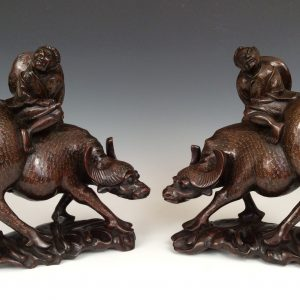 PAIR OF ANTIQUE CHINESE CARVED WATER BUFFALO