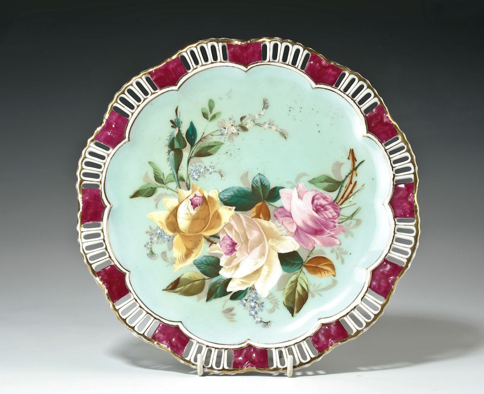 ANTIQUE COALPORT PORCELAIN CABINET PLATE PAINTED ROSES