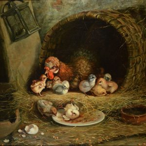 HENRY SCHOUTEN Attributed to OIL PAINTING-CHICKEN CHICKS