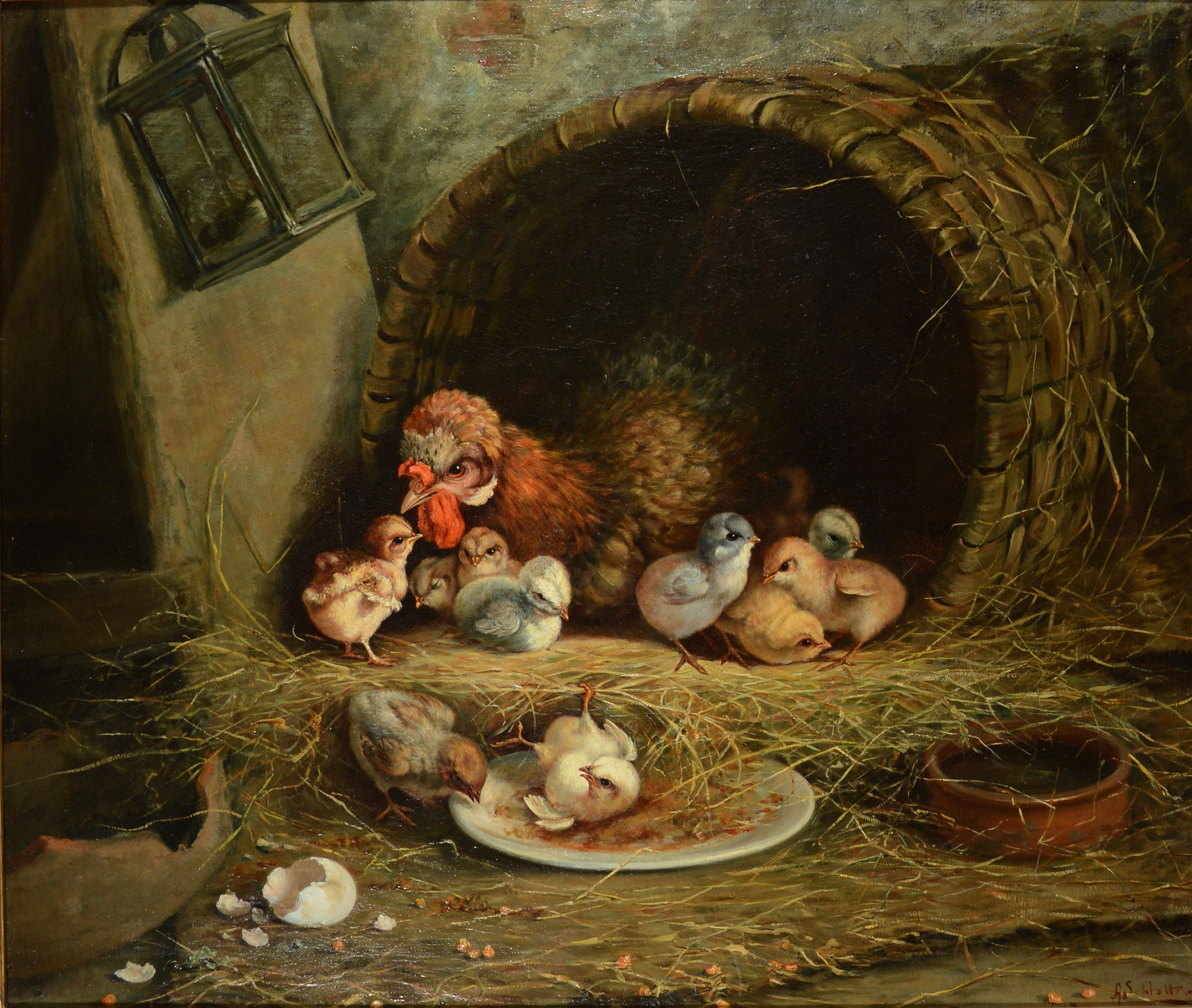 henry schouten oil painting chickens
