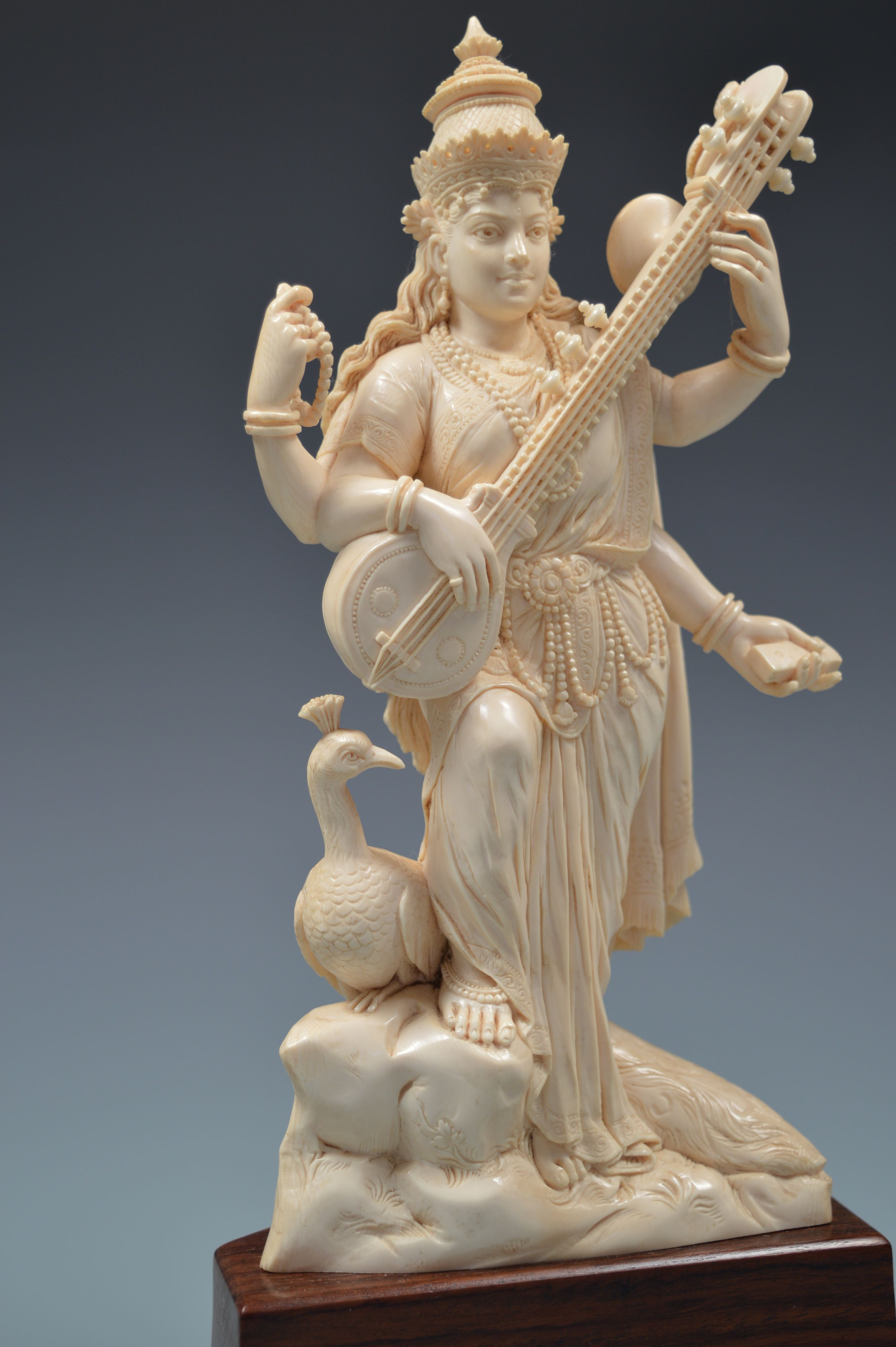 Antique Indian Ivory Figure Of Saraswati