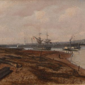 ISAAC WALTER JENNER OIL PAINTING MARINE HARBOUR SHOREHAM