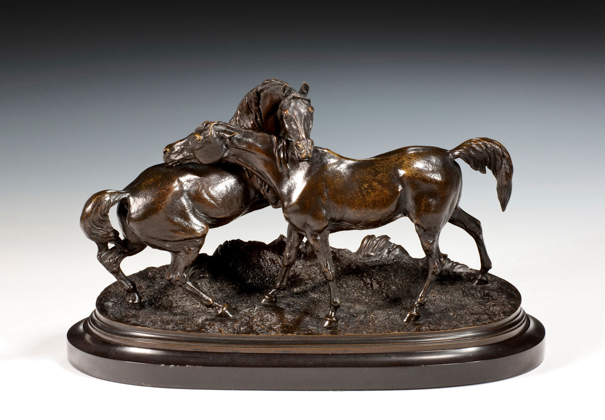 PIERRE JULES MENE ANTIQUE BRONZE PAIR HORSE L'ACCOLADE