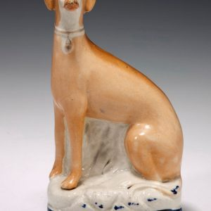 ANTIQUE STAFFORDSHIRE FIGURE OF A LURCHER