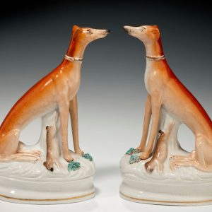 PAIR ANTIQUE STAFFORDSHIRE GREYHOUNDS