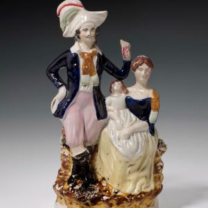 ANTIQUE STAFFORDSHIRE FIGURE OF A FAMILY GROUP