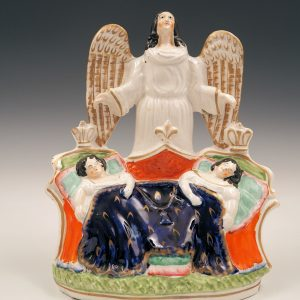 ANTIQUE STAFFORDSHIRE FIGURE OF ROYAL CHILDREN WITH GUARDIAN ANGEL