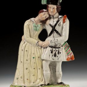 RARE ANTIQUE STAFFORDSHIRE FIGURE THE SOLDIERS FAREWELL