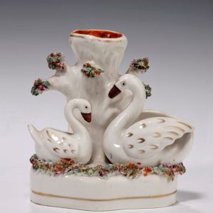ANTIQUE STAFFORDSHIRE FIGURE OF A SWAN GROUP