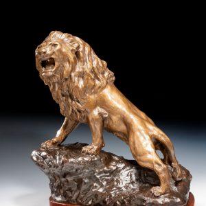 THOMAS FRANCOIS CARTIER ANTIQUE BRONZE LION