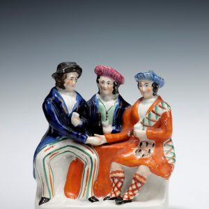 ANTIQUE STAFFORDSHIRE FIGURE OF AULD LANG SYNE