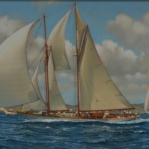 WILLIAM H BISHOP OIL PAINTING ANTIQUA CLASSIC YACHT REGATTA 2010