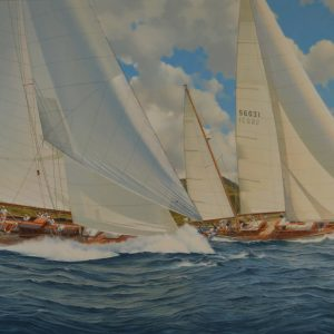 WILLIAM H BISHOP OIL PAINTING ANTIQUA CLASSIC YACHT REGATTA