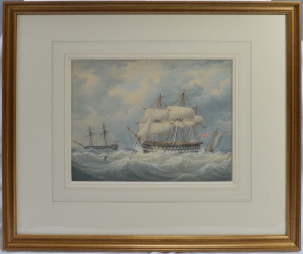 WILLIAM JOY AND JOHN CANTILOE JOY WATERCOLOUR MARINE ROYAL NAVY SHIPS